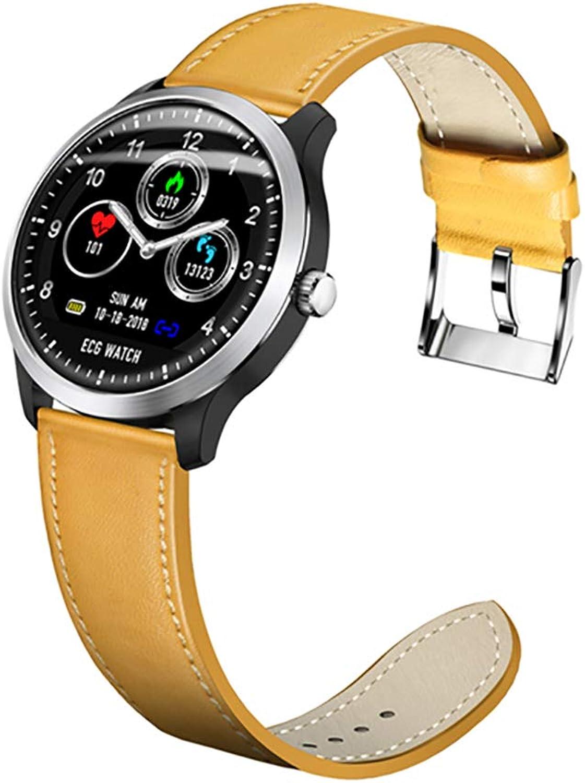 JIAX Blautooth Smart Watch IP67 wasserdichtes Herzfrequenz-Blautdruckmessgert Sport Fitness Tracker für iOS Android-Handy,SilberframeGelbleather