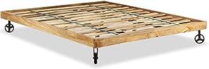 Tuduo Estructura de Cama de Madera en Bruto de Mango 180x 200cm Elegante, cómodo y Simple Estructura Cama Cámara Cama