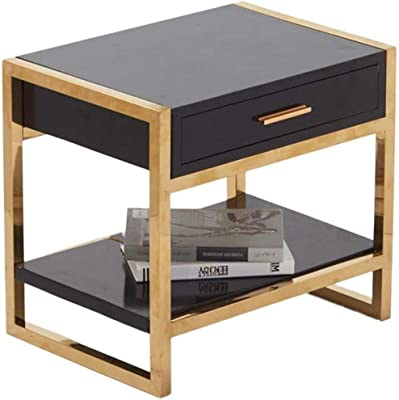 LF- Bedside Table, Multifunction Double Layer Iron Art Solid Wood Bedroom Tea Table Creative Bedroom Living Room Table Negotiating Table Chic (Color : Black)