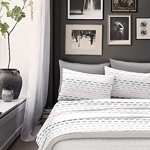 NuvolaNera Completo lenzuola stampato con cotone – per materassi fino a 25 cm. – 1 Piazza Singolo – Belfast Rosa