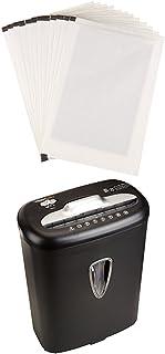 Amazon Basics 8-Sheet Capacity Cross-Cut Paper and Credit Card Shredder, 4.1 Gallon & Sharpening Lubricant Sheets - Pack o...