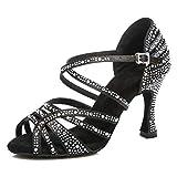 HIPPOSEUS Scarpe da Ballo Latino per Donna Nere con Strass Scarpe da Ballo per Salsa da Sala da Ballo Altezza Tacco Alto,34 EU