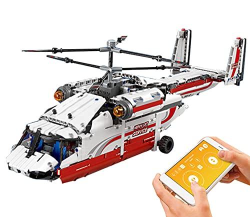VGop Technik Hubschrauber Modell, Mould King 15012, Technik Ferngesteuert Hubschrauber mit Motoren Bausatz Moc Klemmbausteine Kompatibel mit Lego Technik (15012)