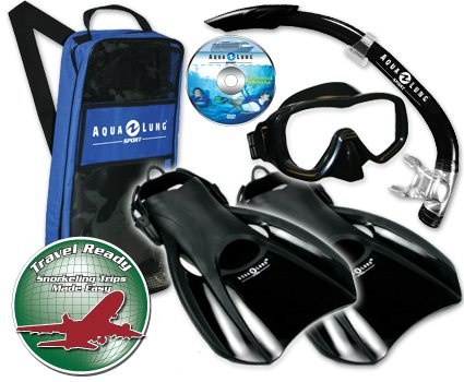 Aqua Lung Sport Admiral 2 LX, Island Dry LX & Trek Snorkeling Set Small Black/Grey