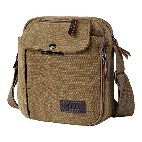Men Small Canvas Bags Crossbody Messenger Travel Multiple Pockets Shoulder Bag Satchel for Casual Business School Travelling (Khaki)