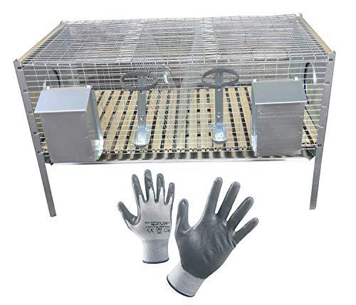 Montidistribuzione Gabbia Conigli Ingrasso Conigliera 2 Scomparti Rabbit Base. Sovrapponibile e Predisposta per i Nidi. Max Ingombro cm 101 x 50 x H 65. in Omaggio Guanti da Lavoro