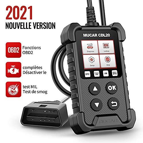 mucar CDL20 OBD2 Scanner Lecteur Code Voiture OBD2/EOBD avec Fonctions OBD2 complètes Vérifier l'outil Diagnostic Voiture des véhicules à Moteur Lecteur Code Moteur/Scanner Code pour Le capteur d'O2