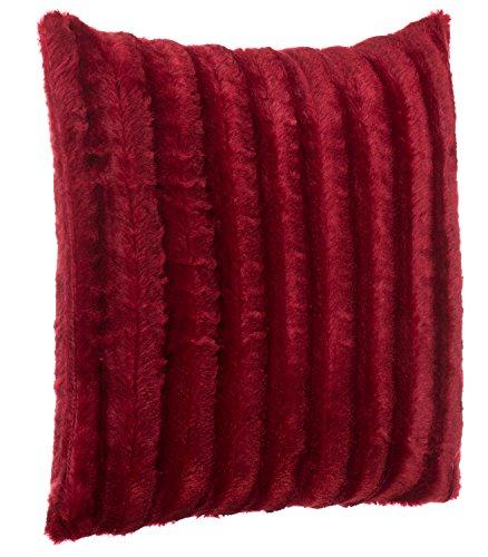 Brandsseller Hochwertiges Exclusives Fellkissen - Fellimitat/Nerzoptik - besonders weich und kuschelig mit Füllung - Größe: 50x50 cm - Rot