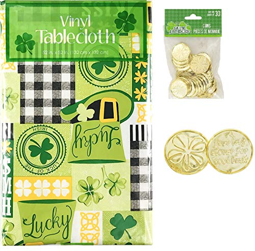 Saint Patrick's Day Vinyl Tablecloth and Lucky Coin Scatters / Printed Words: Kiss Me I'm Irish, Lucky, Luck of The Irish and Shamrock, Leprechaun Hat and Celtic Knot Pattern (52 x 90)