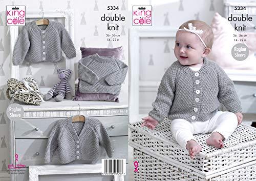 King Cole Baby dubbel breien patroon Raglan mouw vesten en trui (5334)