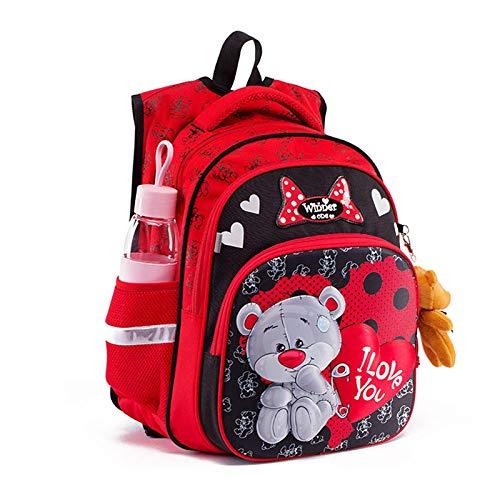 AXUHENGO Nueva mochila escolar de dibujos animados en 3D para Gilrs Boys Cat Bear Pattern Mochila ortopédica Mochilas escolares para niños Mochila para estudiantes Grado 1-4 redbear8014