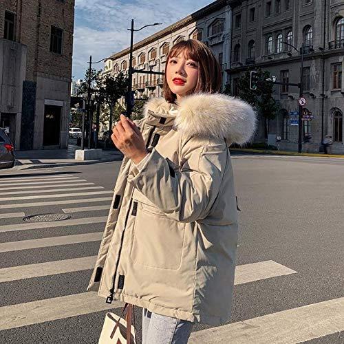 WFSDKN dames donsjack 2019 kraag kunstleer korte dames mantel katoen sweatjas winterjas zwart bourgognerood