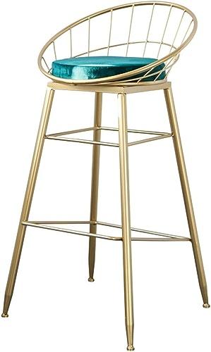 C-K-P Rétro Bar Tabouret Vert Coussin éponge Dossier à Manger Chaise de Cuisine Chargement 150 kg Jambes en métal Or Hauteur du siège  65 cm