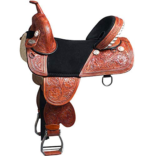 """Manaal Enterprises Adult Western Pleasure Trail Barrel Racing Premium Leather TREELESS Horse Saddle Tack Size 14' to 18' Inch Seat Available (16.5"""" Inch Seat)"""
