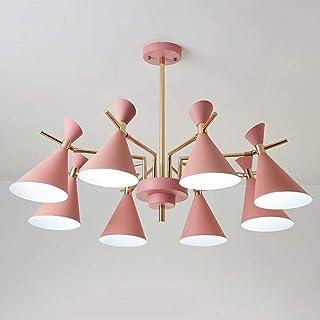 Home Equipment LED Chandelier Modern Macaron Pink 6/8 Lights Pendant Lamps for Restaurant Living Room Bedroom Simple Suspe...