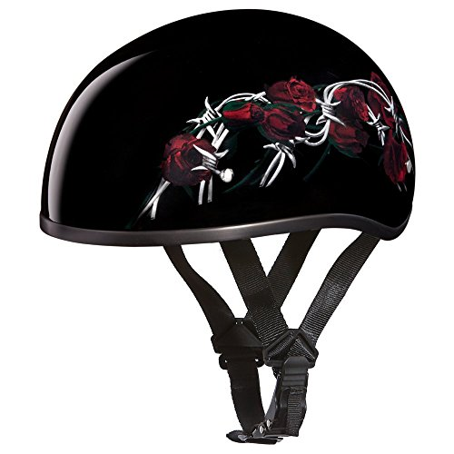 Daytona Helmets Motorcycle Half Helmet Skull Cap- Barbed Roses 100% DOT Approved