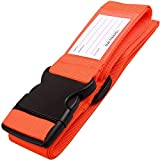 Correas para Equipaje, Cinturones de la Maleta Ajustables de Equipaje de Viaje Cinturones, Accesorios de Viaje Embalaje con Ranura para Etiquetas de identificación (1 - Naranja)