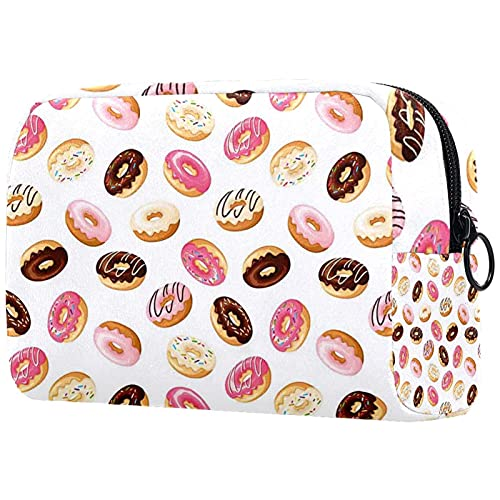 Bolsa de cosméticos para Mujer, Bolsas de Maquillaje, Neceser de Viaje, Organizador de Accesorios, Desayuno de la policía Americana, Donuts de Comida rápida
