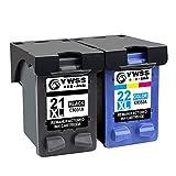 YWSS Reconditionné Cartouche d'encre pour HP 21XL HP 22XL HP 21 22 Haut rendement...