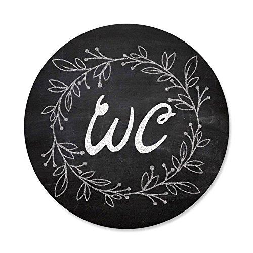 1 Stück WC-Schild Toiletten-Schild Klo-Schild im Tafel-Kreide Look schwarz weiß - neutral - für Frauen + Männer; rund 15,5 cm Durchmesser inkl. Klebepunkte, Aluminiumverbundplatte … Türschild