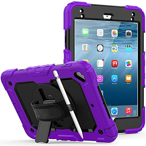 Lobwerk 4-in-1 Protective Hard Case for Apple iPad Mini 4/5 7.9 Inch with Stand Function and Carry Strap Purple
