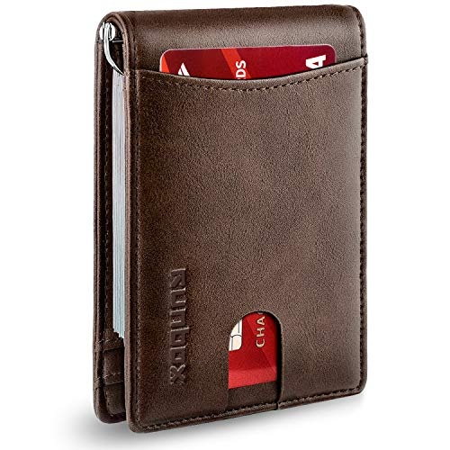 RUNBOX Minimalist Slim Wallet for Men with Money Clip RFID Blocking Front Pocket Leather Mens Wallets(coffee)…
