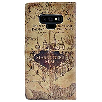 YHB Case for Galaxy Note 9 - Marauder s Map Vintage Retro Pattern Leather Wallet Credit Card Holder Pouch Flip Stand Case Cover for Samsung Galaxy Note 9