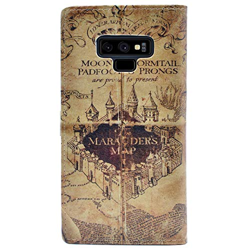 YHB Case for Galaxy Note 9 - Marauder's Map Vintage Retro Pattern Leather Wallet Credit Card Holder Pouch Flip Stand Case Cover for Samsung Galaxy Note 9