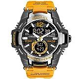 SMAEL - Reloj deportivo impermeable para hombre, 50 m, color naranja