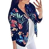 Clearance! Paymenow Women Teen Girls Floral Print Long Sleeve Fashion Jacket Casual Zipper Outwear Autumn Winter Coat Tops Blouse (XXL, Blue)