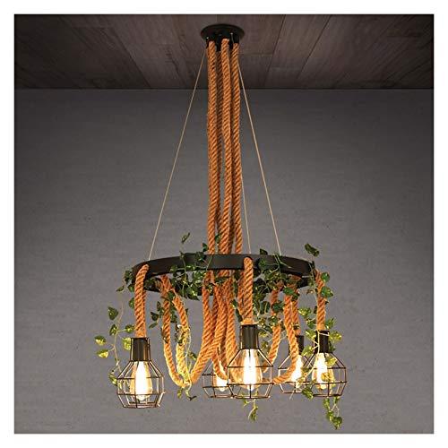Z iluminación Retro Simple de la Cuerda del cáñamo de la lámpara de la Individualidad Creativa Temática Restaurante Bar Loft Industrial de la lámpara del Viento Fashion