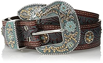 Nocona Belt Co. Women's Turquoise Paint Gold Concho Belt, brown, Small