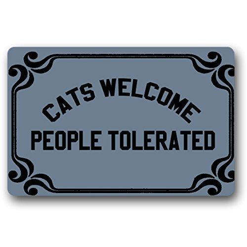 Norma Lily Katzen Welcome People Tolerated Funny Fußmatte Welcome Fußmatte Langlebige Waschmaschine Gewaschen Indoor-/Outdoor 23,6(L) X 15,7(W) Zoll