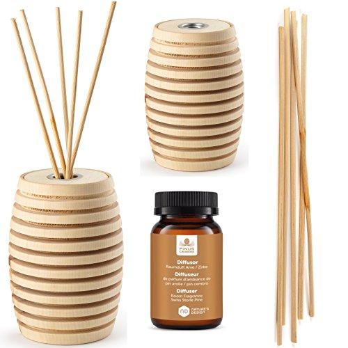 Pinus Cembra Aroma Duft Diffusor Pine aus Zirbenholz mit Stäbchen und Raumduft Zirbenöl