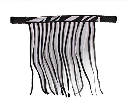 QHP Fliegenfransen mit Klettverschluss Fliegenschutz Kollektion Sommer (Vollblut, Zebra)