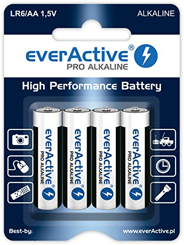 EverActive AA Batteries Pack of 4 Pro Alkaline Mignon LR6 R6 1.5V Highest Performance 10 Year Shelf Life - 4 Pack - 1 Blister Card, schwarz/ weiss