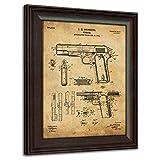 1911 Handgun Framed 14'x17' Patent Art - Vintage Paper Theme