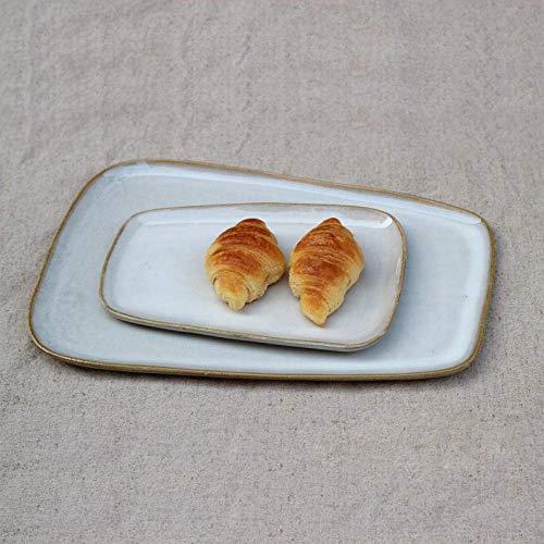 Geschirrteller Neuer Küchenservice (cremefarbenes und rotes Muster) Personalisierter Hotel-Teller Teller Keramikgeschirr Snack-Teller Western Teller-weiß_30cm /