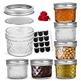 LovoIn 4oz 6 Pack Regular Mouth Mini Mason Jars with Lids and Bands, Quilted Crystal Glass Canning Jars Ideal for Food Storage, Jam, Body Butters, Jelly, Wedding Favors, Baby Foods