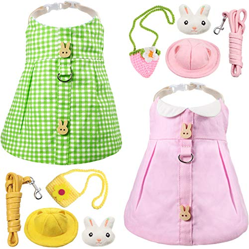 2 Sets Cute Pet Rabbit Dress Small Animal Harness Vest and Leash with Mini Hat Bag Escape-Proof Pet Harness Dress Accessory for Rabbit Guinea Pig Hedgehog Ferret Piggy (Pink Rabbit, Green Plaid)