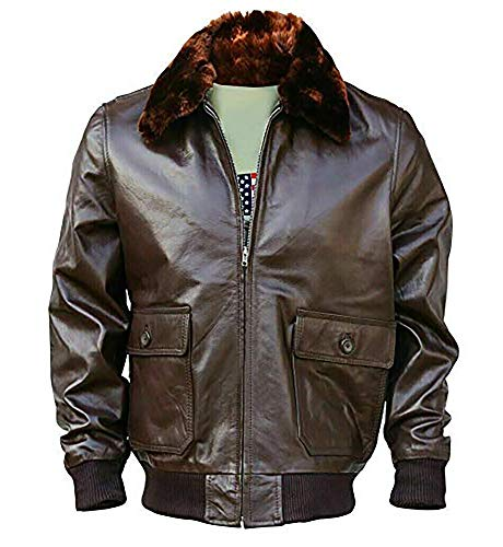 The Brand Game WWII Navy G1 Flight Bomber Genuine Lambskin Leather Jacket With Warm Quilted Lining (S)