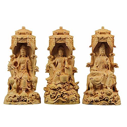 LOSAYM Escultura Decoración Estatuas Figuritas Delicado Western Three Buddhas Esculturas Redondas Estatuas De Madera Bien Buda Estatua Popular Escultura De Mano Árbol Miniatura Decoraciones para El