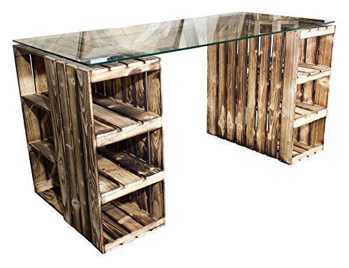 Vinterior Flambierter Schreibtisch aus neuen Holzkisten/Obstkisten/Apfelkisten in GEFLAMMT inkl. klarer Glasplatte 150x70x66cm