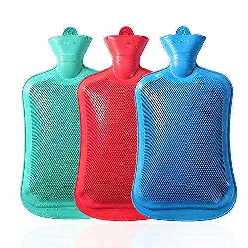 RYRA Botella de agua caliente de goma clásica, calentador de manos de invierno, goma natural, sin BPA, bolsa de agua caliente duradera para compresa caliente y terapia térmica, 1750 ml