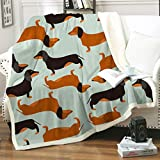 Dachshund Throw Blankets, Soft Sherpa Flannel Blanket Warm Cozy Fleece Blanket Cute Cartoon Fuzzy Dachshund Blanket for Couch Bed Chair Sofa