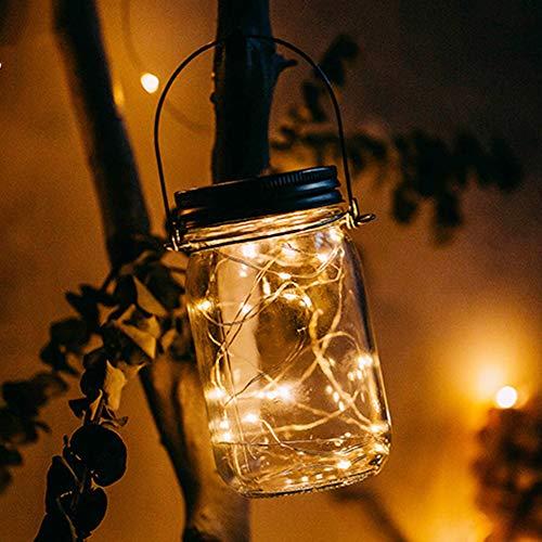 Lampada solare Mason Jar – Jar Fee, luce in vetro impermeabile, lampada a sospensione da giardino, illuminazione a LED, catena di luci per feste, Natale, decorazione di nozze