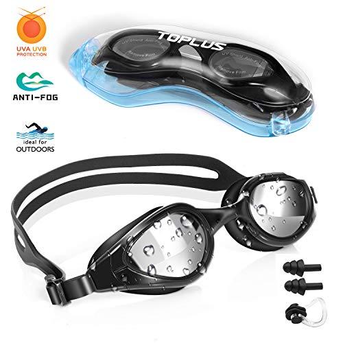 TOPLUS Schwimmbrille Schwimmmaske mit Nasenklammern, Ohrstöpsel, Weiche Silikon Antibeschlag 100% UV Schutz für Erwachsene Herren Damen Jugend und Kinder-Silber-Linsen