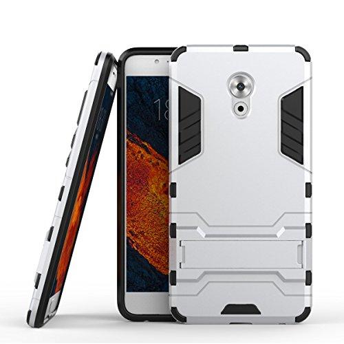 Tasche für Meizu Pro 6 Plus Hülle, Ycloud das stärkste Handy Shock Proof Armor Dual Schutzabdeckung Hochfeste PC Kunststoffoberschale Shockproof mit Halterung Schutzabdeckung Silber