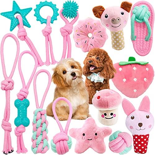 VIPNAJI Juguetes para Perros,15 Mordedor Perro Peluche para Perros Cachorro Juguetes Perros Pequeños/Grandes, Juguetes Interactivos, Durable Masticable de Juguete para Masticar, - algodón Natural
