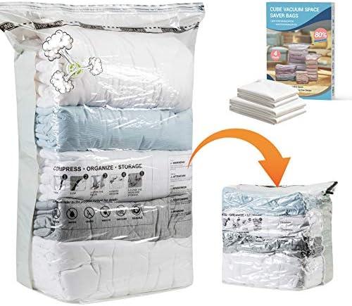 Elegear Cube Vacuum Storage Bags 4 Pack 2 Jumbo 2 Medium Space Saver Bags Double Zip Seal Innovative product image